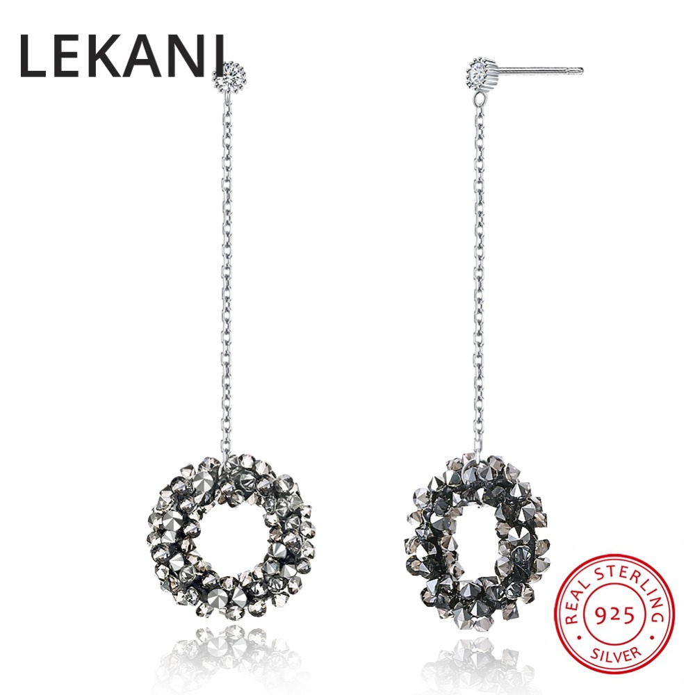LEKANI Crystals From SWAROVSKI Crystals Pave Circle Drop Earrings For Women Long Chain Hanging S925 Silver Earring silver long chain hanging earrings moon star shape