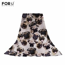 FORUDESIGNS 3D Pug Dog Printing Women Scarf Ladies Kawaii Puppy Pattern Slik Scarves for Females Cute Dogs Fashion Beach Towels cute panda pattern scarf for women