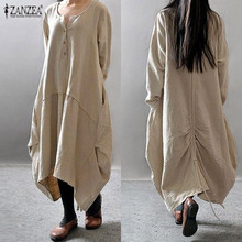 ZANZEA 2019 Women Asymmetric Dress Vintage Linen Long Vestidos Female O Neck Sleeve Button Down Solid Baggy Plus Size