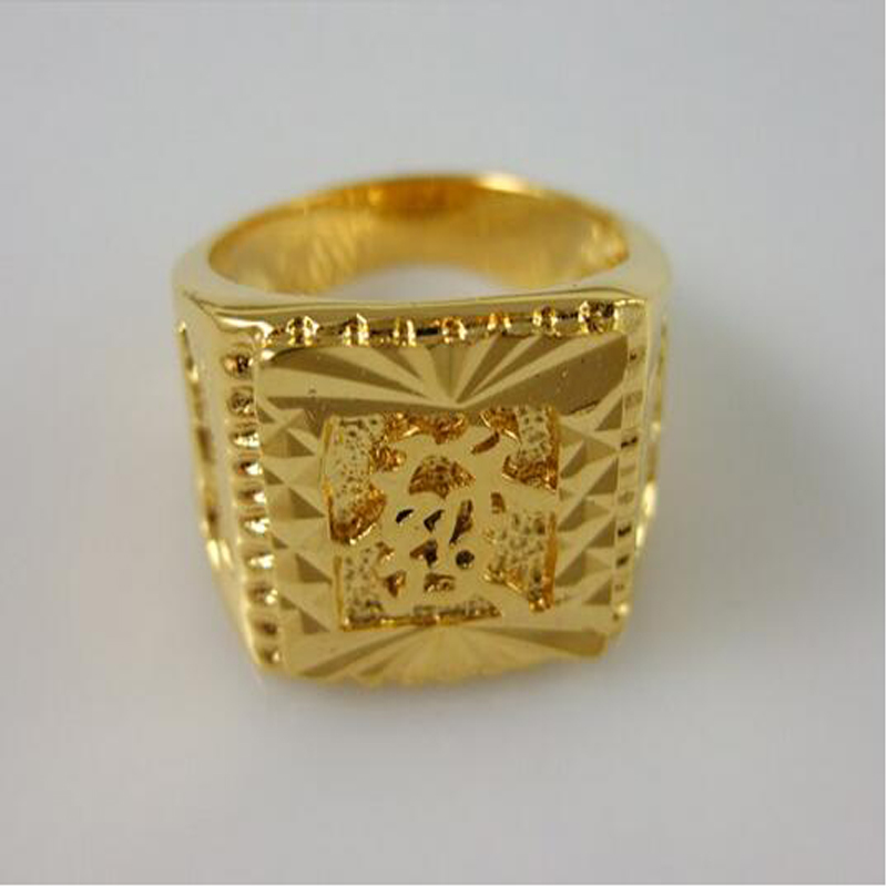 New Fashion 24K Gold Plated Chinese Characters Ring Men Jewelry