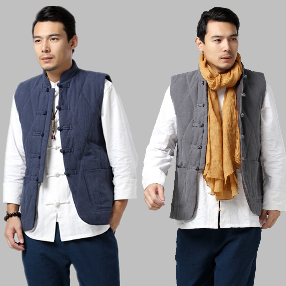 Spring Of Chinese Men's 17 New Cotton And Linen Chinese Dish Buckle And Vests Collar Double-breasted Cotton Jacket