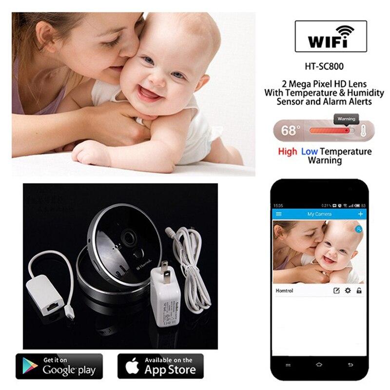 Интеллектуальный 1080 P Wi-Fi для IP Камера Мониторы с Температура и влажность и PIR Сенсор с Дисплей и уведомления сигнализации