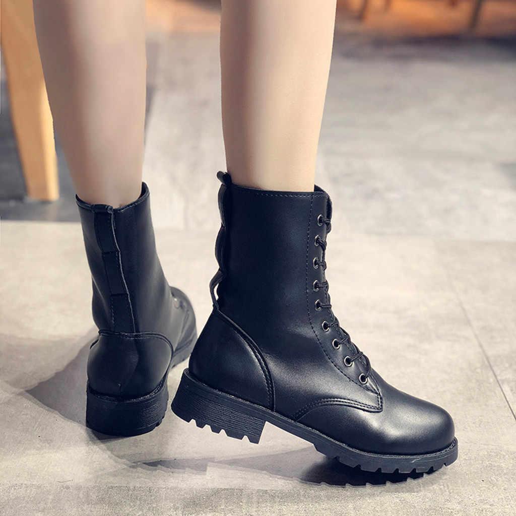 Kadın Botları Moda Katı Deri Orta Dantel-up Kalın Yuvarlak Ayak Ayakkabı Couro botas Mulheres Moda Dantel-up grossas Botas Botları