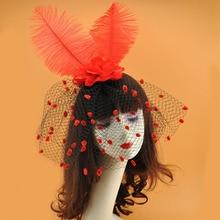 Wedding Hat Kentucky Derby Headband Feather Fascinator Hats Church Tea Party Royal Banquet Women Headwear Bridal Face Veils