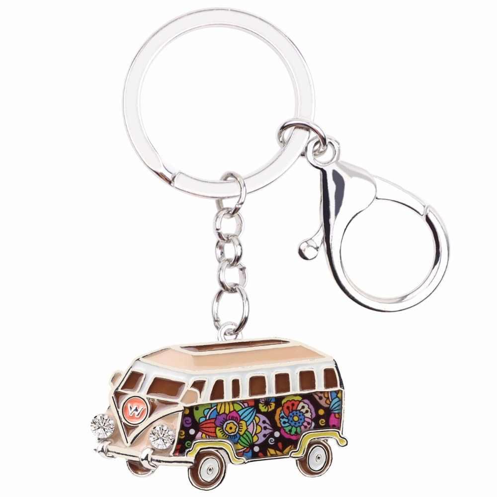Bonsny Bus Car Van Ônibus de Metal Chave Anel Chave de Cadeia Bolsa saco Charme Lembrança Chaveiro Acessórios de Moda Esmalte Jóias Para mulheres