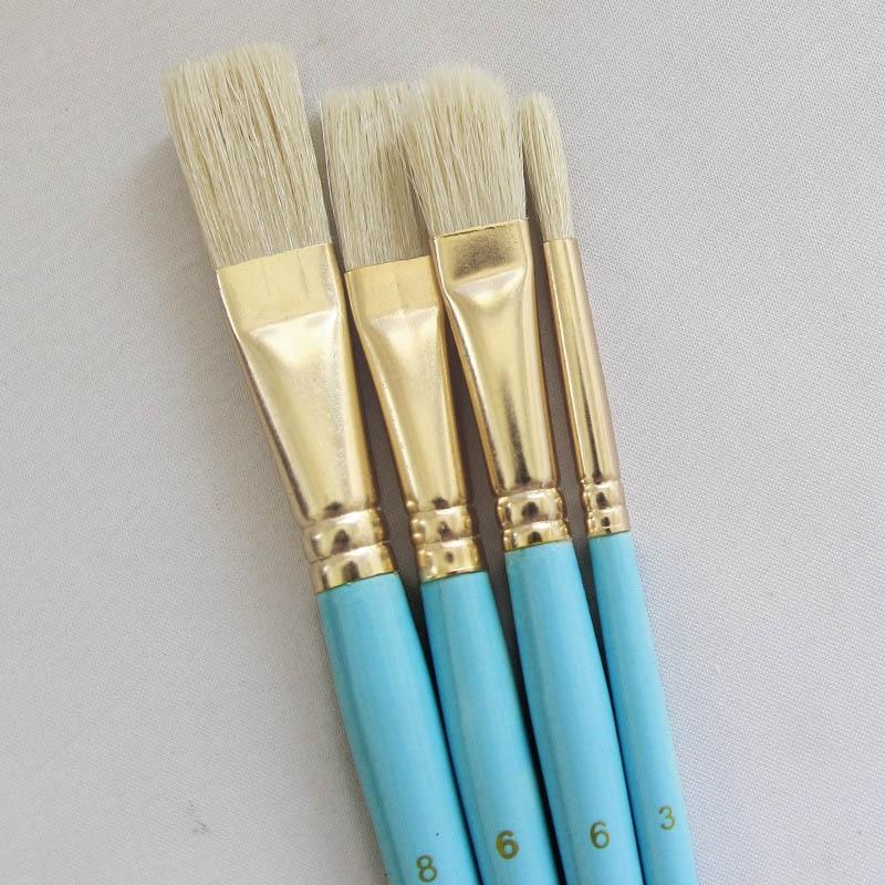 4Pcs Artist Paint Brush Drawing Art Supplie Wooden Handle Aluminum Tube Drawing Brushes Bristles Hair Drawing Art Supplies