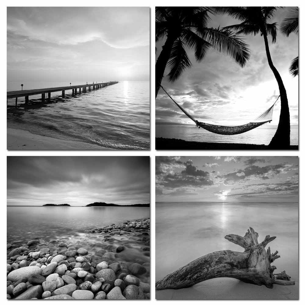 Up To Date 4 Panel Gray Pier Wall Art Painting Black and white Seascape Canvas Print Artwork Pics for Living Room Bedroom Decor