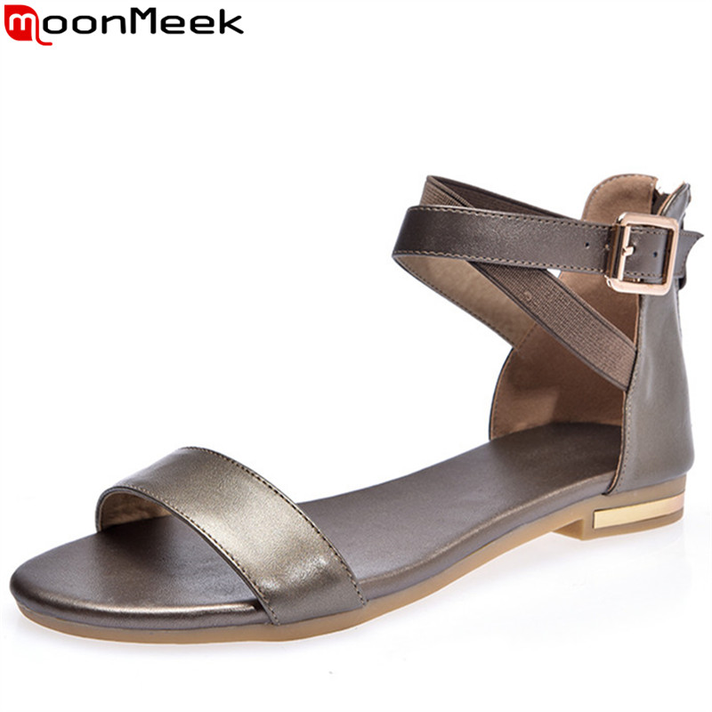 MoonMeek 2019 new genuine leather shoes summer sandals buckle ladies flat with shoes zip casual women sandals big size 34-42 MoonMeek 2019 new genuine leather shoes summer sandals buckle ladies flat with shoes zip casual women sandals big size 34-42