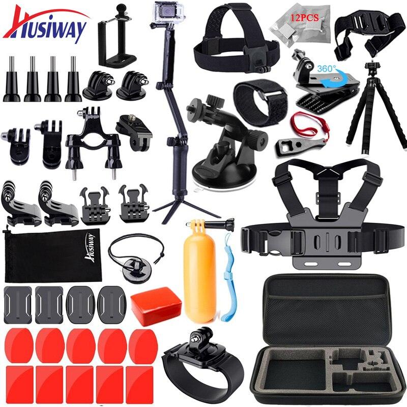 Husiway Zubehör Kit für Gopro Hero 7 6 5 4 3 Sitzung Set für Xiaoyi 4 K SJCAM EKEN und andere Action Kameras 12A