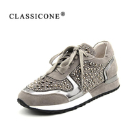 CLASSICONE Women S Stylish Sneakers On A Flat Sole Made Of Genuine Leather And Suede With