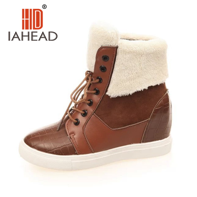 Winter Thick Red Boots Fashion Snow Boots For Women Fur Shoes Ankle Boots Girls Platform Shoes Women Flats Plus Size 40 MC190 armoire hot sales black yellow red brown gray flats women slouch ankle boots solid ladies winter nude shoes aa 3 nubuck