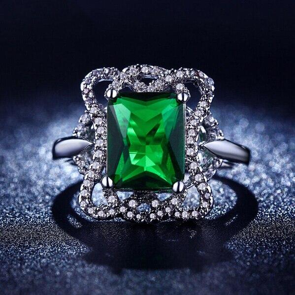 ᗔQcooljly plata color boda Anillos para las mujeres joyería verde ...