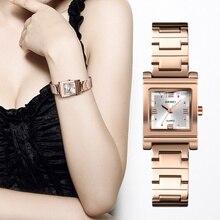 Skmei moda feminina relógios de luxo marca de aço inoxidável quartzo senhoras relógio à prova dwaterproof água relógio pulseira relogio feminino