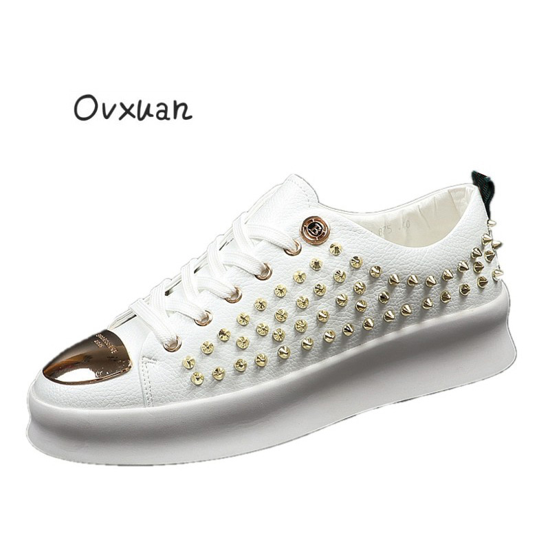 Ovxuan Men s Rivet Shoes Metal B buckle Handmade Luxury Brand Men Loafers Party Wedding Dress