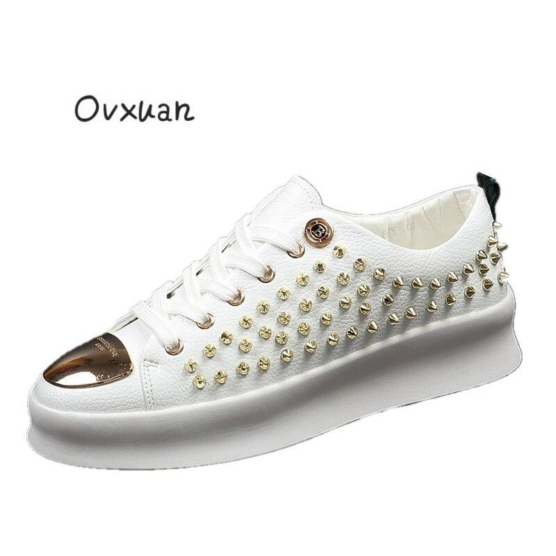 Ovxuan męskie ćwiek buty metalowe B klamra Handmade luksusowa marka mężczyźni mokasyny sukienka na wesele buty w stylu casual Metal Toe mężczyźni mieszkania w Męskie nieformalne buty od Buty na  Grupa 1