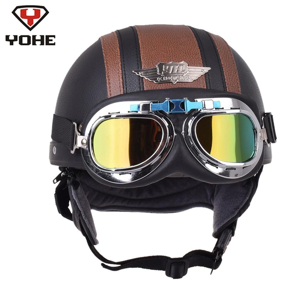 YOHE Motorcycle Helmet Leather Retro Pilot Chopper Half Helmets Casque Casco Moto Capacetes De Motociclista Vespa Kask Vintage