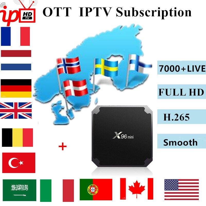 X96mini OTT IPTV Subscription French Arabic Sweden Norway Netherland Europe Portugal Germany Italy Turkey UK H.265 IPTV M3u Box
