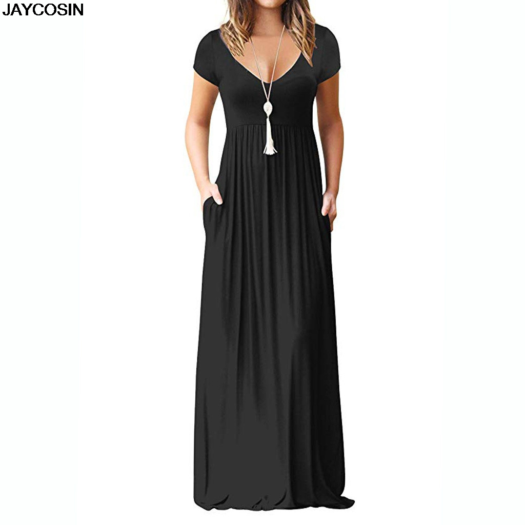 c93bd207df JACOSIN Dress Women's Casual Solid V-neck Floor-Length Maxi Long Dress  elegant ladies dresses summer 2019 evening vestidos Apr3 ~ Free Shipping  June 2019