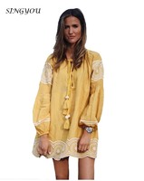 SINGYOU Women Vintage Dress Spring New Long Sleeve Emboridery Ladies Elegant Dresses Vestidos Yellow Tassel Lace