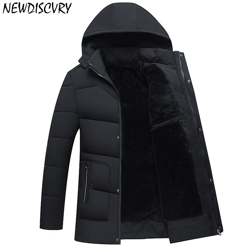 NEWDISCVRY Mens Fur   Parka   2018 Thicken Warm Cotton-padded Man Winter Jacket   Parka   Casual Men Hooded Coats Outwear Masculina 5XL