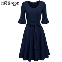 Meaneor 2017 A Line Dress Women Casual V Neck Half Flare Sleeve Solid Color Pleated Hem