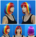 Charming party city hair mix color Anime straight Rainbow BOB cosplay short Rock Star wig Synthetic Halloween Multicolor costume