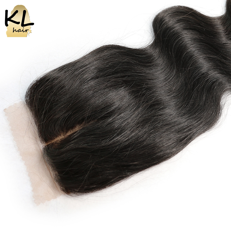KL Hair Middle Part Silk Base Closure Body Wave Human Hair Brazilian Remy Hair 4×4 Silk Closure Bleached Knots With Baby Hair