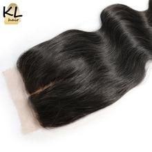 KL Hair Middle Part Silk Base Closure Body Wave Human Hair Brazilian Remy Hair 4×4 Silk Closure Bleached Knots With Baby Hair