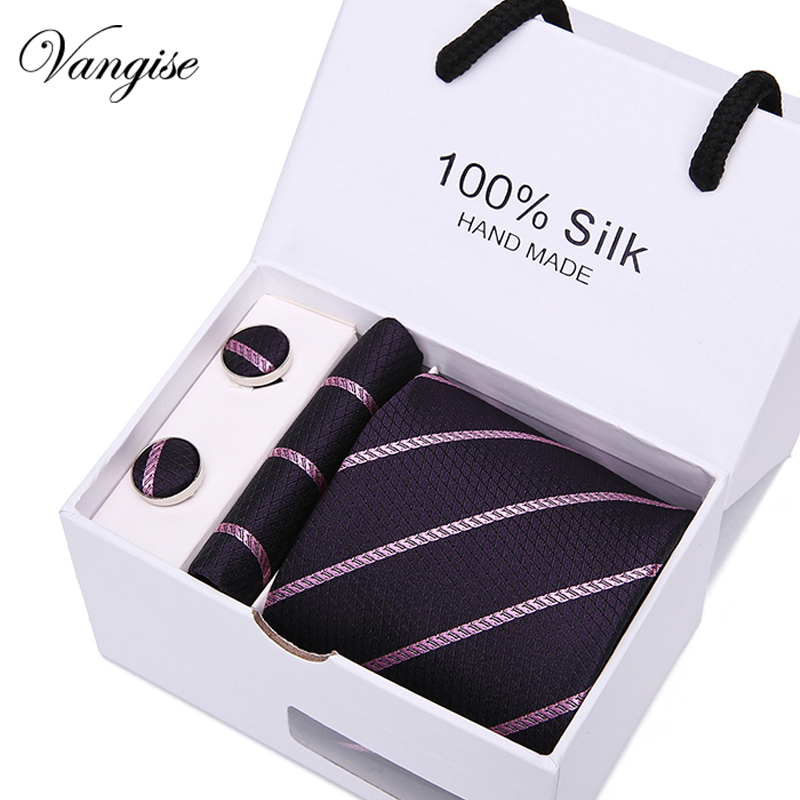 New 4pcs/set 100% Silk Ties Men's Ties Fashion Necktie Set Plaid Stripe Mans Tie Necktie With Gift Box Extra Long Size 145*7.5cm