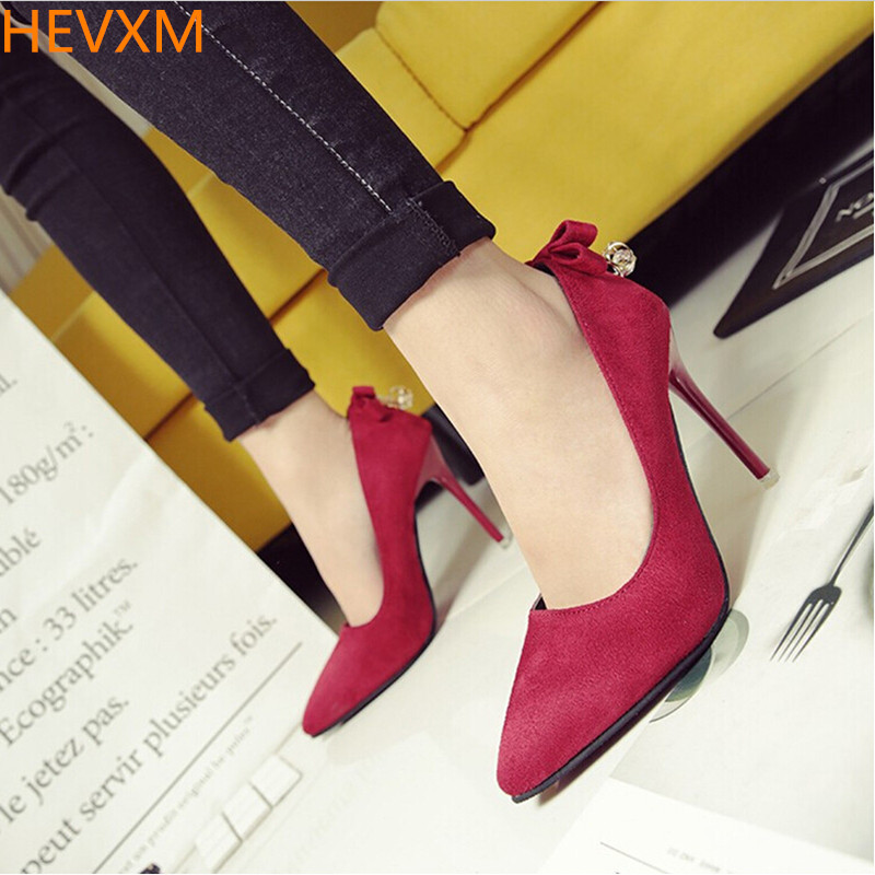 HEVXM 2017KOREAN SPRING WOMEN FINE WITH POINTED SEXY NIGHTCLUBS HIGH HEELS WOMAN FASHION DRESS DIAMOND SHOES OL HIGH HEELS PUMPS