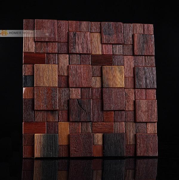 Shipping Free!! Natural Log Wood Mosaic Tile ,3D Design