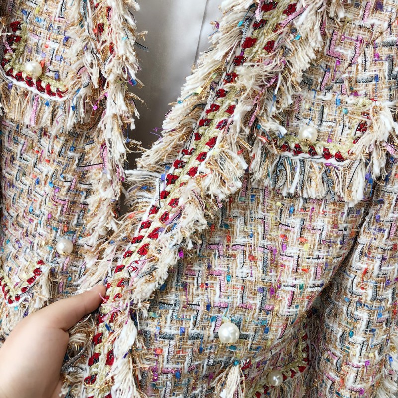 Feminino De Automne Base Vestes Piste Same Manteaux Femmes Casaco Mode Spliced Dames Sergé Coréen Noir Tweed 2018 Picture Veste As qdwazqp