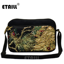 ETAILL 2018 Sequins Phoenix Embroidered Bags for Women Flowers Small Square Shoulder Bag Ladies Ethnic National Small Handbags naxi hani original brocade embroidered women handbags vintage ethnic handmade tassel sequins canvas shoulder bags