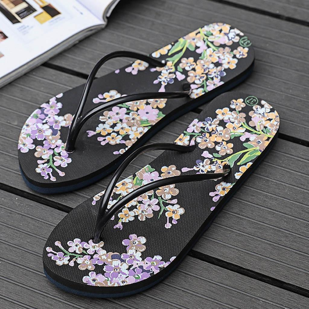 4c963e2dd Femmes Floral Pantoufles De Mocassins 2019 Mode Plats Plage bleu ...