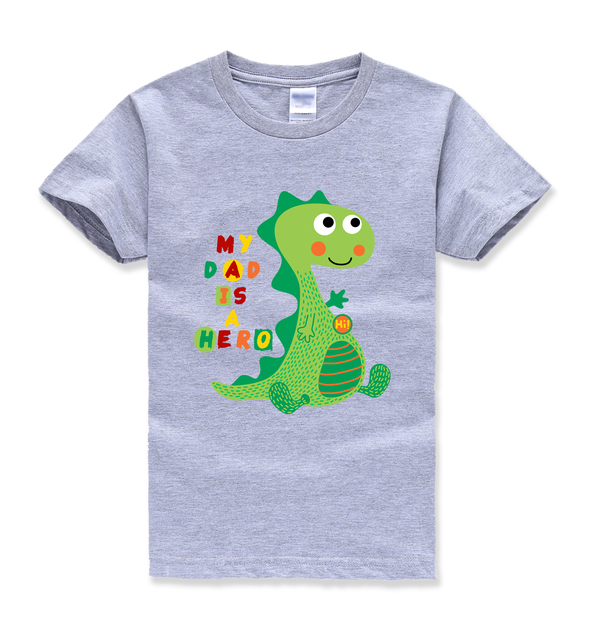 my dad is a hero letter printing cartoon dinosaur print funny cute kids t shirts baby boy kawaii t shirts summer new fashion top