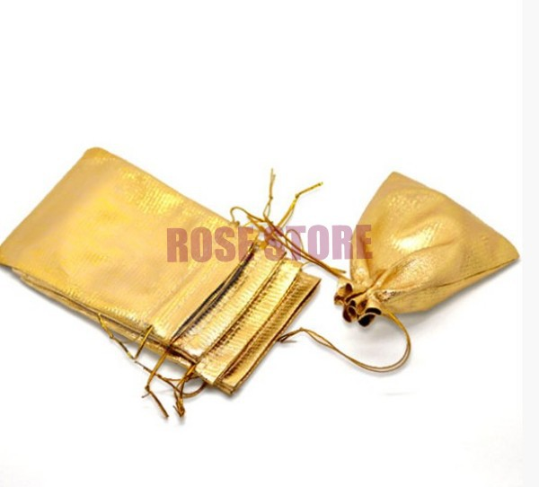 500pcs Lot 9x12cm Gold Plated Satin Gift Bags Small Charms Jewelry Packaging Bag Cute Package Pouches Drawstring In Wring
