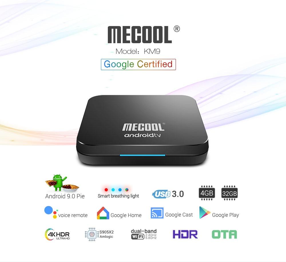 2019 plus récent KM9 ATV contrôle vocal intelligent 4G 32G Android 9.0 Amlogic S905X2 boîte de soutien intelligent respiration lumière/3D boîte graphique - 2