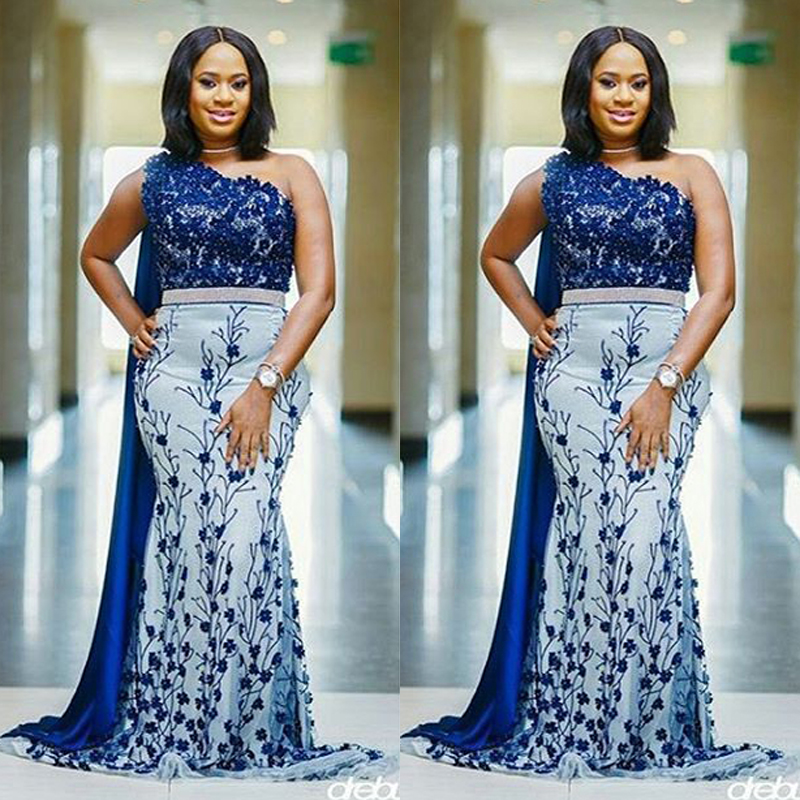 Couture Evening Gowns And Dresses: Plus Size African Nigerian Royal Blue Appliques Embroidery