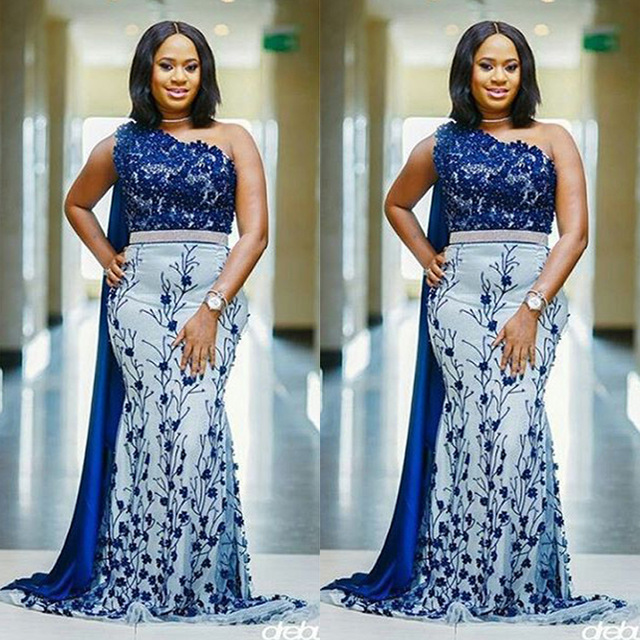 d727a8d3a0ae Plus Size African Nigerian Royal Blue Appliques Embroidery Couture Evening  Dresses Long Mermaid Women Formal Gowns Plus size