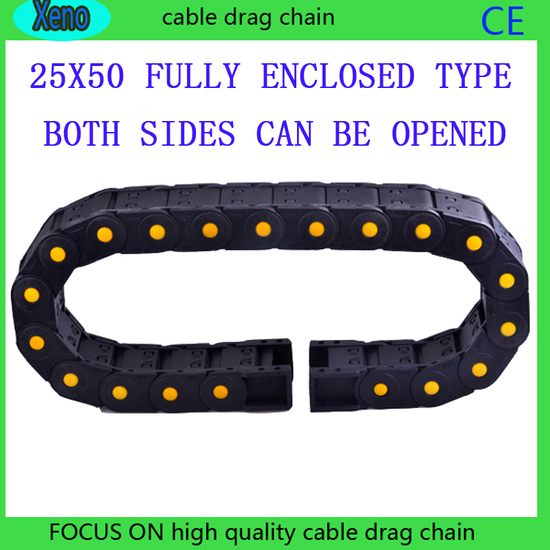 25x50 10Meters Fully enclosed Type Reinforced Nylon Engineering Tank Chain For CNC Route Machine