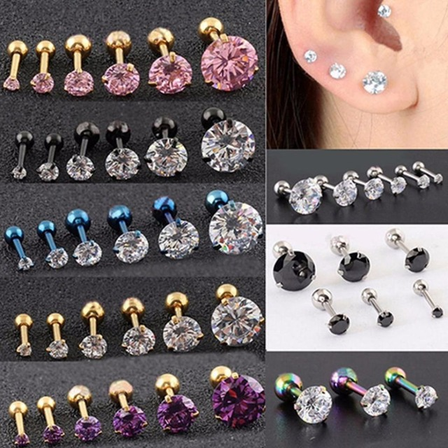 Fashion CZ 3 Prong Tragus Cartilage Stainless Steel Ear Stud Crystal Zircon Earr