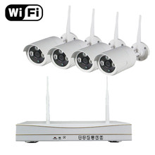 4ch Outdoor Day night security camera system 1.3MP 960P Real p2p WiFi ip camera wireless cctv system