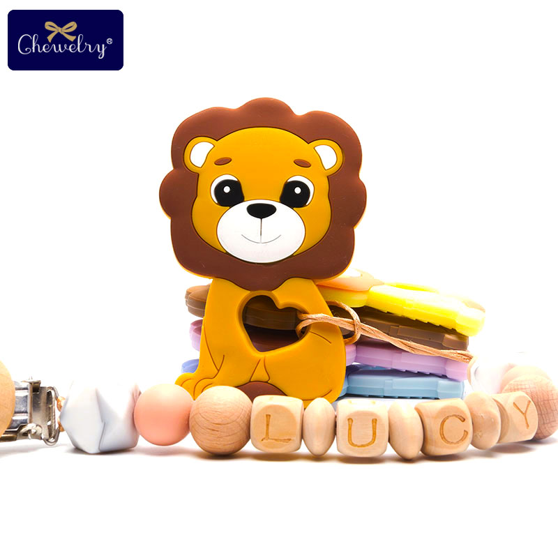 10pc Baby Silicone Teether Lion Pendant Food Grade Perle Silicone Beads Teething Silicone Rodents Chewable Children'S Goods Toys