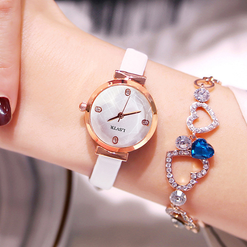 Luxury Small Leather Watches Women Creative Fashion Pink Quartz Watches For Reloj Mujer 2019 Ladies Wrist Watch relogio feminino in Women 39 s Watches from Watches