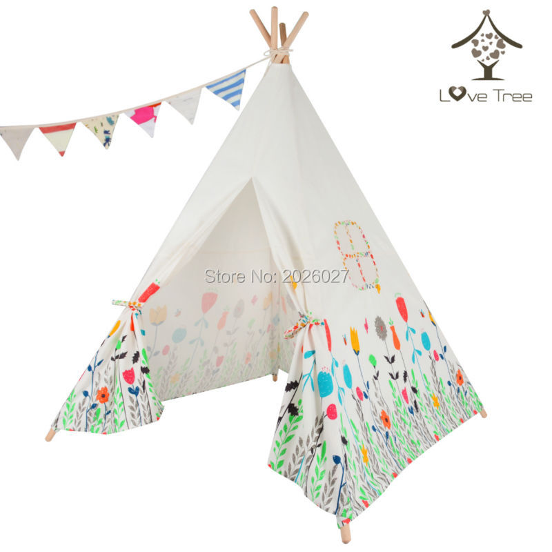 LoveTree Children India Teepee Four Poles One Window teepee tent Cotton canvas teepee Kids Teepee Tent toy tent black tree printed children teepee four poles kids play tent cotton canvas tipi for baby house ins hot foldable children s tent