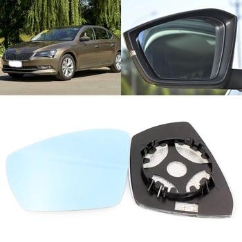 Para Skoda excelente 2013-2016 Puerta de vista lateral espejo vidrio azul con Base calentada 1 par