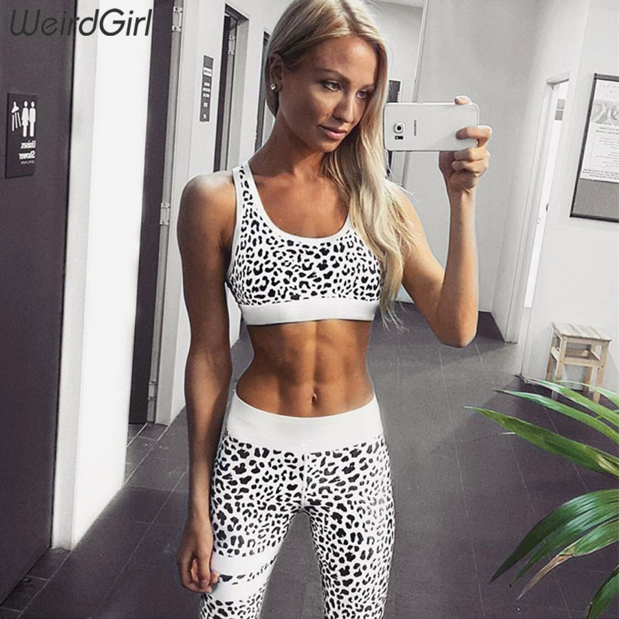 Weirdgirl Summer Women Sets 2 Pieces Leopard Print Hot Selling Sporting Suits Sportwear Stretched Crop Top High Waitst Leggings