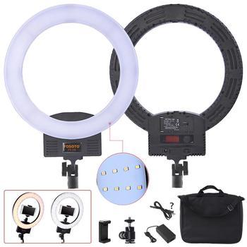 Fosoto Fotografische beleuchtung led Ring Licht batterie solt 3200 K-5600 K Ring lampe Zwei Heiße Schuhe Für Kamera foto Studio Telefon Video