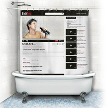 Facebook Youtube Webpage Pattern Waterproof Polyester Shower Curtain