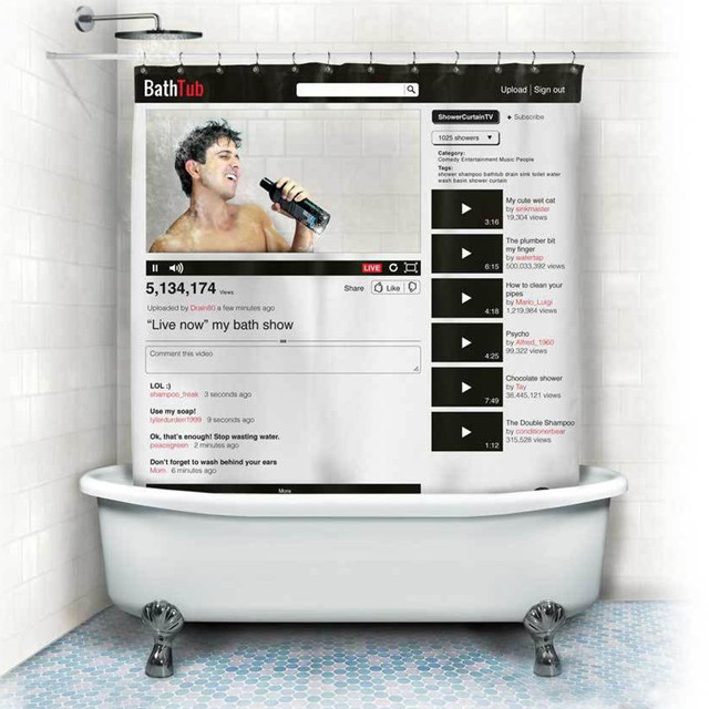 Facebook Youtube Webpage Pattern Shower Curtains Waterproof Polyester Curtain For Bathroom 180x180CM With 12 Hooks